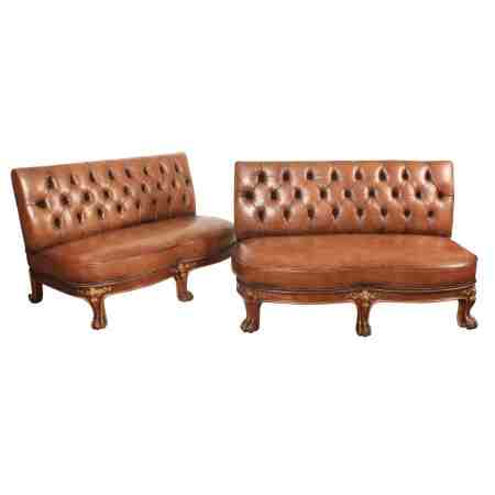 Pair of Gilt and Buttoned Leather Chesterfield Lobby Sofas