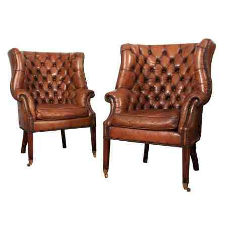 Pair of Buttoned Leather Barrel Back Library Chairs