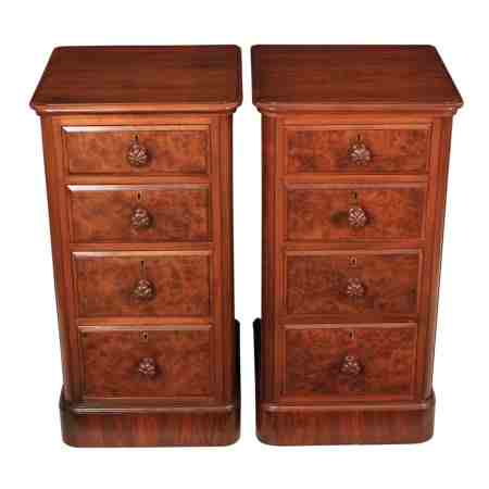 Pair of Burr Walnut Bedside Chests