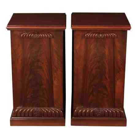 Pair of Regency Flame Mahogany Bedside Cabinets