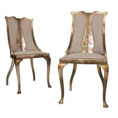 Pair of Chinoiserie Painted Bedroom Chairs