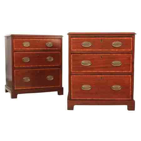 Small Pair of Inlaid Mahogany Chests