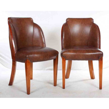 Set of 6 Art Deco Epstein Cloud Walnut & Leather Dining Chairs