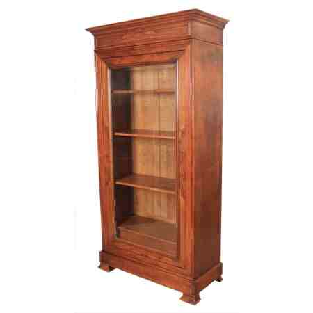 Large French Figured Walnut Display Cabinet Bookcase