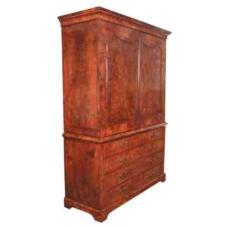 18th Century Burr Walnut Dutch Linen press Wardrobe