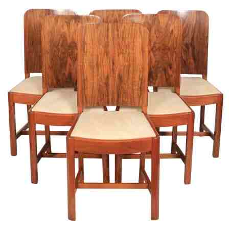 Stunning Set of 6 Art Deco Walnut Dining Chairs