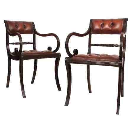 Super Rare Pair of Regency Macassar Ebony Armchairs