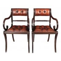 Rare Pair of Regency Macassar Ebony & Leather Armchairs