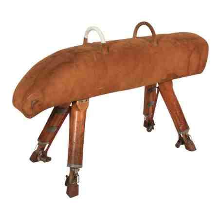 Vintage Suede Gymnastics Pommel Horse