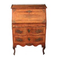 Shaped Continental Inlaid Walnut Bureau