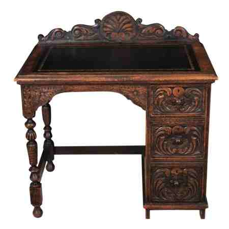 Small Carved Oak Desk