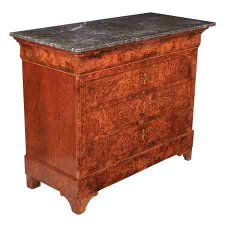 Superb Marquetry Inlaid Burr Walnut Marble Top Chest of Drawers