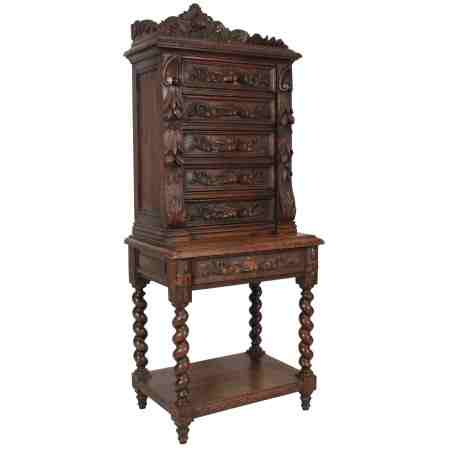 C.1880 Carved Oak Chest on Stand