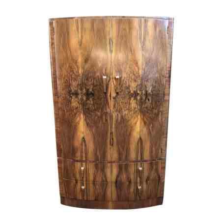 Bow Fronted Walnut Art Deco Wardrobe