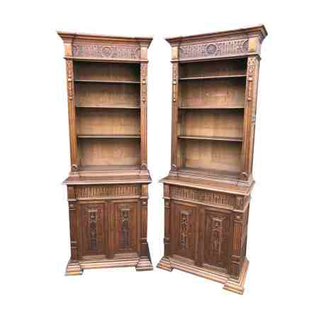 Pair of Tall Carved Oak Bookcases