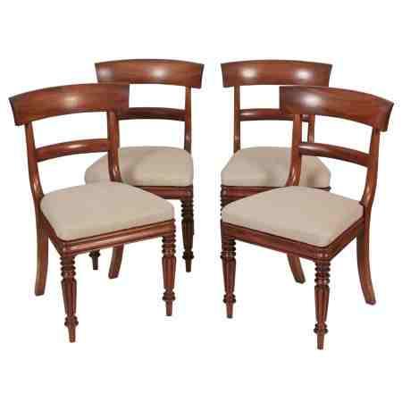 Set of 4 Cuban Mahogany Bar Back Dining Chairs