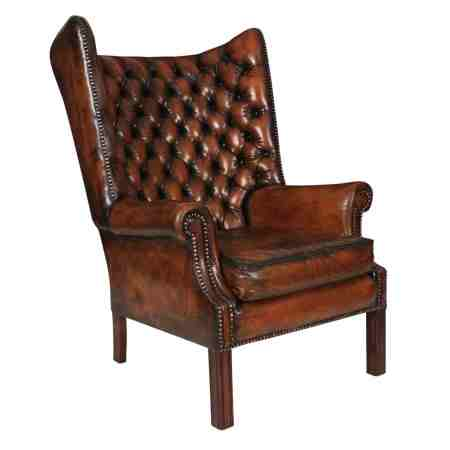 Hand Dyed Leather Barrel Back Chesterfield Wing Chair