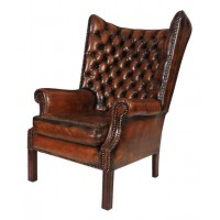 Vintage Leather Barrel Back Chesterfield Wing Chair