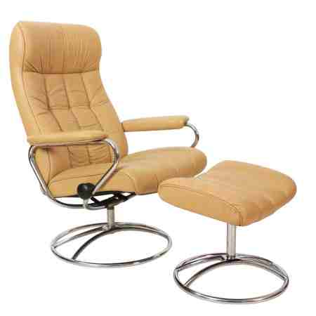 Vintage Mid-Century Modern Leather Recliner Armchair & Footstool