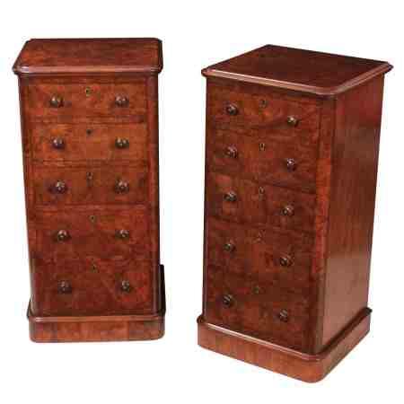 Pair of Burr Walnut Pedestal Chests