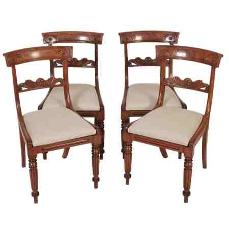 Set of Four mahogany bar back dining chairs
