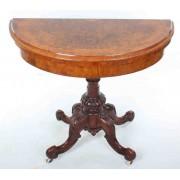 Victorian Marquetry Inlaid Burr Walnut Card Table