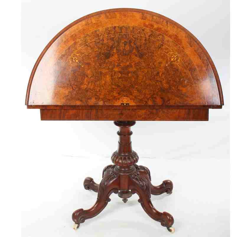 Victorian burr walnut marquetry demi lune card table for Chaise demi lune