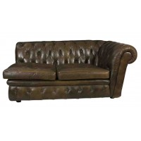 Vintage Green Leather Chesterfield Sofa Chaise Day Bed