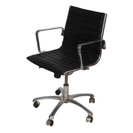 Eames Style Chrome and Black Swivel Desk Chair