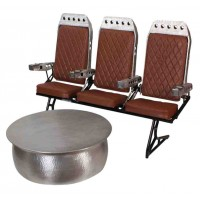 1970s Vintage Aeroplane Seats and Aluminium Coffee Table
