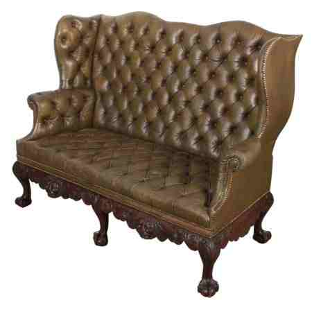 Rare and Superb Leather and Mahogany Chesterfield 2 Seater Mahogany Wing Couch