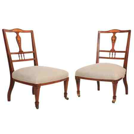 Pair of Low Rosewood Marquetry Inlaid Nursing Chairs