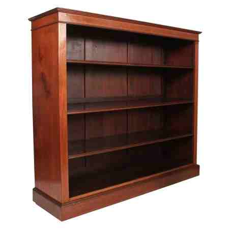 Solid Mahogany Inlaid Open Bookcase