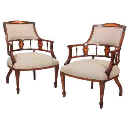 Pair of Rosewood Marquetry Inlaid Tub Chairs