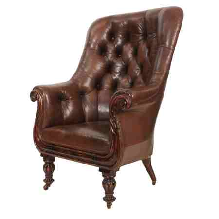 Late Regency Brown Leather Chesterfield Library Chair