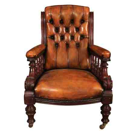 Hand Dyed Buttoned Leather & Mahogany Library Chair