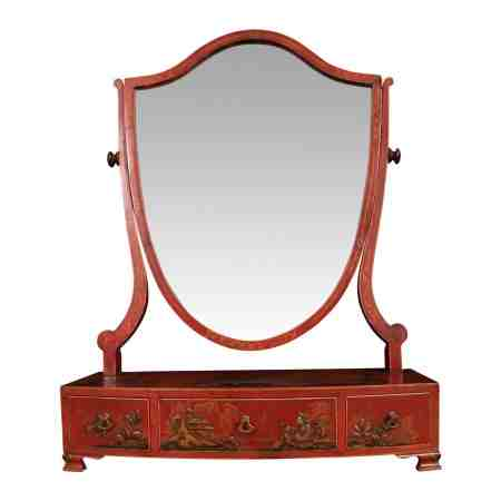 Chinoiserie Japanned Lacquered Dressing Table Mirror