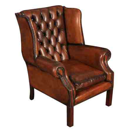 Leather Cigar Brown Chesterfield Wing Chair