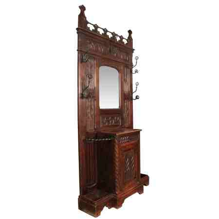 Gothic Oak Hall Stand in the style of Augustus Pugin