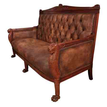 French Empire Buttoned Leather Sofa C.1820