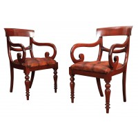 Pair of Regency Mahogany & Leather Armchairs