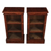 Pair of Small Figured Walnut Open Bookcases