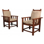 Pair of Solid Oak Reclining Childrens Armchairs