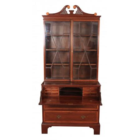 Georgian Inlaid Mahogany Secretaire Bookcase
