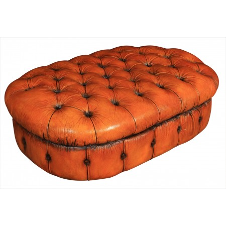 Vintage Hand Dyed Leather Buttoned Chesterfield Pouffe