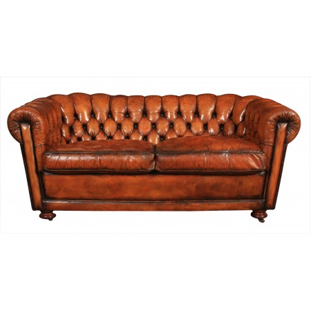 Vintage 2 Seater Leather Chesterfield Sofa