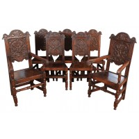 8 Carved Oak Wainscott Dining Chairs