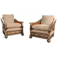 Pair of Chinoiserie Japanned Bergere Conservatory Armchairs