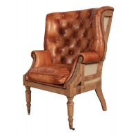 Hand Dyed Leather and Oak Barrel back Chesterfield Library Wing Chair