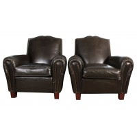 Pair of French Leather Moustache Club Chairs